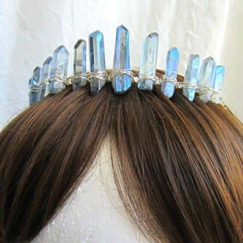 Quartz Tiara, Crowns and Tiaras, Crystal, Ice Princess, Quartz Point, Headpiece, Costume Crown, Bridal Tiara, Cosplay