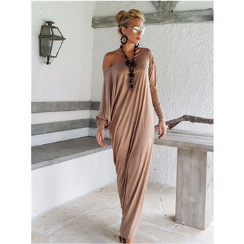 Hippie floor length dress shirt womens clothing sexy maxi vintage dress