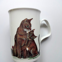 Vintage Roy Kirkham Cat Lovers Bone China Mug 1989