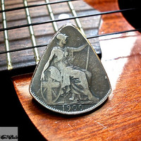 Rustic Coin Guitar Pick  - 1900 British Penny Plectrum