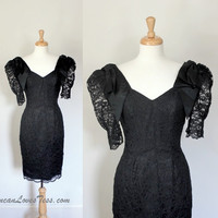 Vintage 1980's Black Satin & Lace Party Dress