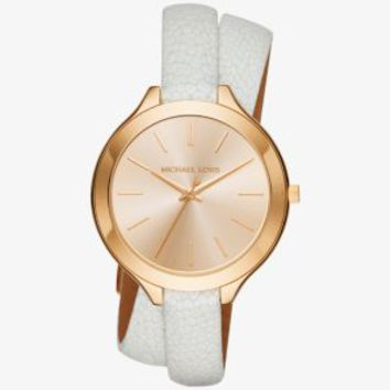Slim Runway Gold-Tone and Leather Watch | Michael Kors