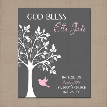 Girl Nursery Tree Wall Art, Personalized Girl Name Artwork, Bird Tree, Baby Wall Girl Bedroom Art, CANVAS or Prints Baptism Gift Shower Gift