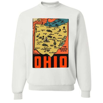 Vintage State Sticker Ohio Crewneck Sweatshirt