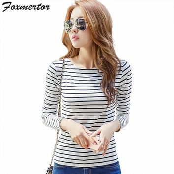 Foxmertor Cotton T-shirt Women 2018 New Autumn Long Sleeve O-Neck Striped Female T-Shirt White Casual Basic Classic Tops #F620