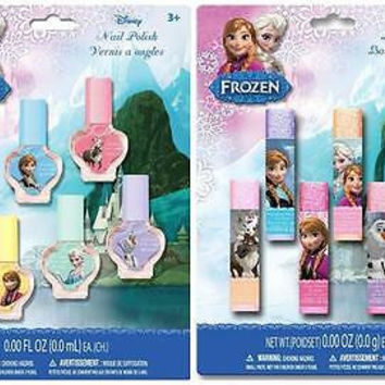 Disney Frozen Anna,Elsa&Olaf Nail 6 Pack Nail Polish Set and 6 pack lip balm Set