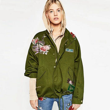 Women Army Green embroidered bomber jacket 2016 Floral Satin Bomber Jacket Loose Casual Coat Punk Outwear Capa Outerwear