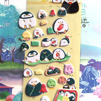 cute Penguin sticker fat penguin happy daily life puffy sticker eating party gathering fun time penguin themed Japanese sticker decor gift