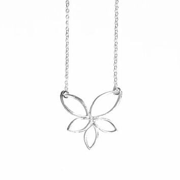 Large Sterling Silver Lotus Flower Necklace