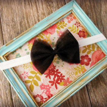 Baby Tulle Bow Headband, Black Hair Bow Clip, Baby Shower Gift, Birthday Outfit, Baby Girl Tutu Headband, Tutu Hair Clip, Hair Accessories