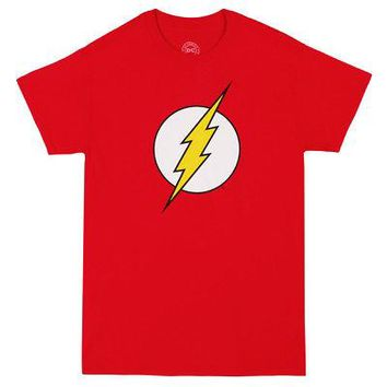 The Flash Lightning Bolt Logo DC Comics Adult Unisex Costume T-Shirt - Red
