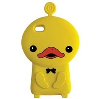 Cute 3D Duck with Rosette Silicone Rubber Skin Silicon e Soft Back Case for Apple Iphone 4/4S/4G - Yellow