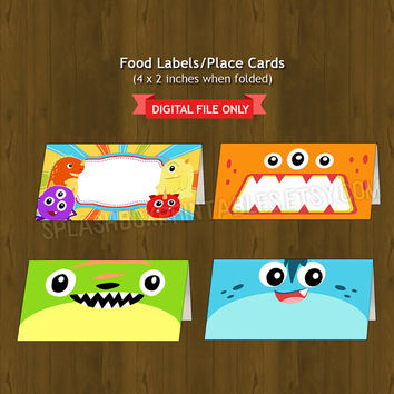 Monsters Themed Printable Food Labels - Monsters Party Place Cards or Food Labels (Tent Cards) - Monster Bash - INSTANT DOWNLOAD