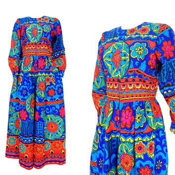 Vintage 60s Psychedelic Leland of California Womens Jumpsuit - Size 10 - Bright Blue Red Pink Yellow Mod Palazzo Pants Wide Leg Jumpsuit