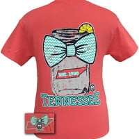 Girlie Girl Originals Tennessee Chevron Mason Jar Preppy State Bow Bright T Shirt