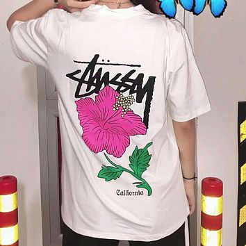 STUSSY 2018 limited short sleeve classic parade rose pattern bottoming shirt F-CN-CFPFGYS White