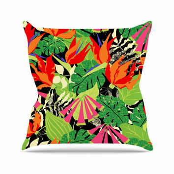 "Jacqueline Milton ""Tropicana - Hot"" Orange Green Throw Pillow"