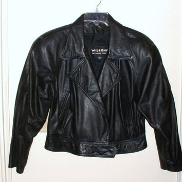 Vintage Black Leather Coat Womens Size Large Biker Jacket Waist Length Wilsons Brand