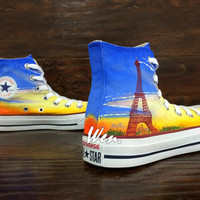 WEN Original Design Eiffel Tower Converse Hand Painted Shoes,Converse Shoes,Painted Shoes Canvas Shoes leisure shoes