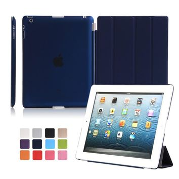 aiyopeen For iPad 2 3 4 smart case pu leather with hard pc matte transparent back cover  11-fold magnet auto sleep+gift