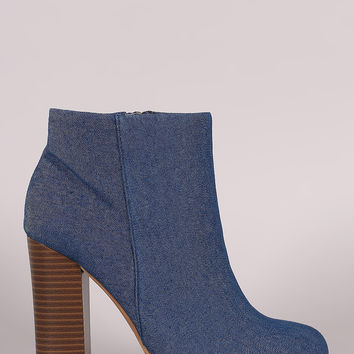 Bamboo Denim Chunky Heeled Ankle Boots