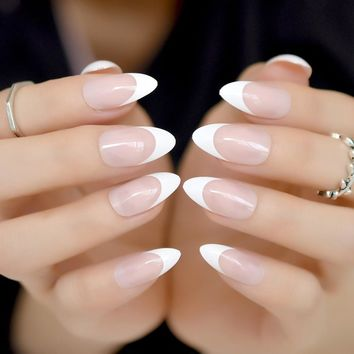 Stiletto Nails Clear White Nude French Fake Nails Pointed False Press on Nails for Girl Sharp End Full Cover Wear Nail Art Tips