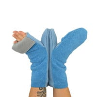 Convertible Flip Top Mittens in Sky Blues - Recycled Wool - Fleece Lined