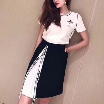 """""""Chanel"""" Women Casual Fashion Short Sleeve Small Bee T-shirt Letter Webbing Multicolor Skirt Set Two-Piece"""