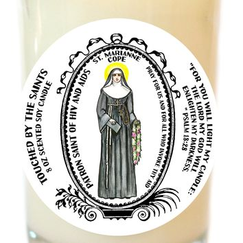 Saint Marianne Cope Patron of HIV and Aids 8 Oz Scented Soy Glass Prayer Candle