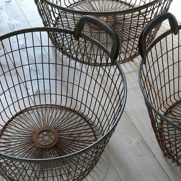 Vintage Industrial Wire Storage Baskets by OrmstonSaintUK on Etsy