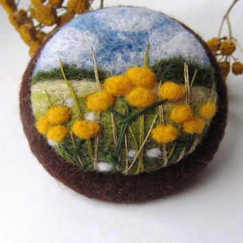 Needle felted brooch,Needle felted brooch with embroidery,Wool felt brooch,Jewelry,Yellow Flower brooch,Gift ideas,For her,felted landscapes