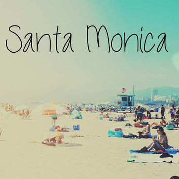 Santa Monica Beach People retro blue Los Angeles West Coast Surf Summer 5x7 Photography Print