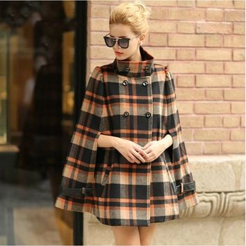 2017 Hot sale Autumn Winter Cashmere Women Plaid double-breasted Coat  Woolen Overcoat Cape Wool Loose Cloak Outerwear A248