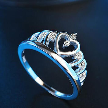 Forever Love Classic Wedding Band Rings Rose Gold Color 6 Prong Round Sparkling AAA CZ Rings Jewelry