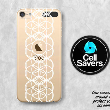 Sacred Geometry Clear iPod 5 Case iPod 6 Case iPod 5th Generation iPod 6th Generation Rubber Case Gen Clear Case White Circles Zen Peace