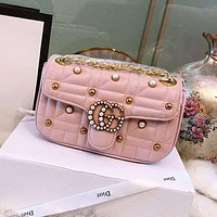 GUCCI 2018 new Marmont double G pearl quilted chain bag shoulder bag diagonal package pink