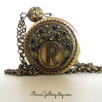 Initial Locket - Personalized Locket - Personalize Necklace - Custom Locket - Monogram Locket - Filigree Locket - Round Brass Locket