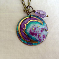 Half Crescent Moon Necklace Moon and Stars Necklace Hand Painted Brass Dome Necklace Swarovski Teardrop Purple Turquoise