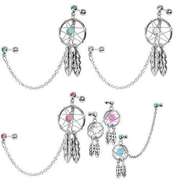 ac PEAPO2Q 2pcs/lot Dream Catcher Star Helix Tragus Cuff Ear Piercing Cartilage Stud Earring tragus piercing earring