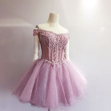 Organza Pink Elegant Homecoming Dresses Free Fast Shipping