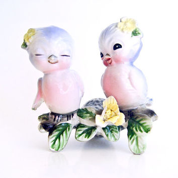 Bluebirds of happiness. Porcelain figurines. Made in Japan 1930s.