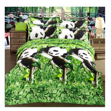 3D Active Printing Bed Quilt Duvet Sheet Cover 4PC Set Upscale Cotton L Size 015