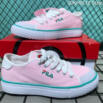 AUGUUA F045 Fila Canvas Skate Shoes Pink Green