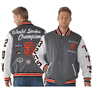 San Francisco Giants Linebacker Wool Commemorative Full Zip Jacket - Orange/White/Charcoal
