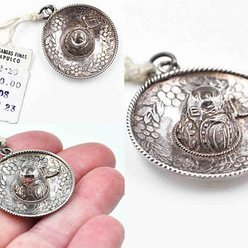 Vintage Taxco Sterling Silver Sombrero Hat Pendant, Charm, Souvenir, Mexico, Floral, Horseshoe, 3D, New Old Stock, NOS, Nice! #c254