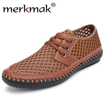 Merkmak 2017 New Brand Real Genuine Leather Casual Men's Shoes Summer Flats Male Masculino Big Size 46 Top Quality Shoes Men
