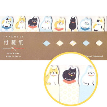 Sleeping Kitty Cat Shaped Patterned Memo Pad Post-it Index Sticky Tab Bookmarks | Cute Animal Themed Affordable Stationery