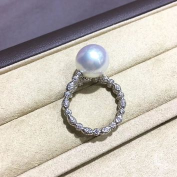 11-12mm White South Sea Pearl Ring 18k Gold - AAAA
