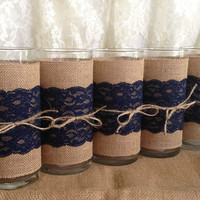 3 DAY SALE 5 Navy blue burlap and lace covered glass vase, wedding, bridal shower, baby shower, home decoration