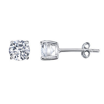 Silver Treasures Round White Cubic Zirconia Sterling Silver Stud Earrings - JCPenney